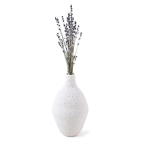"""11"""" Kigali Beaded Decorative Vase, White"""