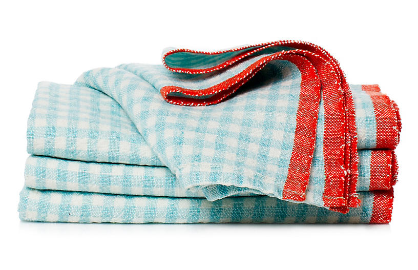 Set of 4 Macero Dinner Napkins - Aqua - Caravan