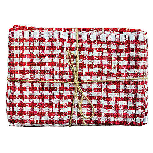 S/2 Godrich Tea Towels, Red