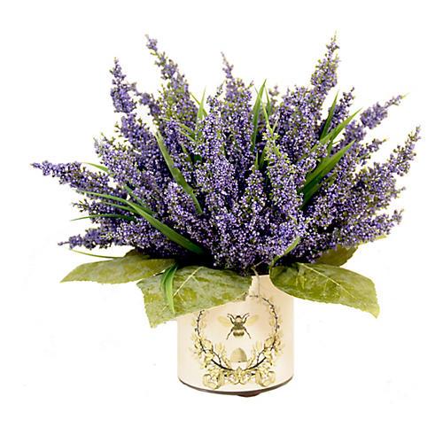 """13"""" Lavender Arrangement w/ French Bee Vase, Faux"""