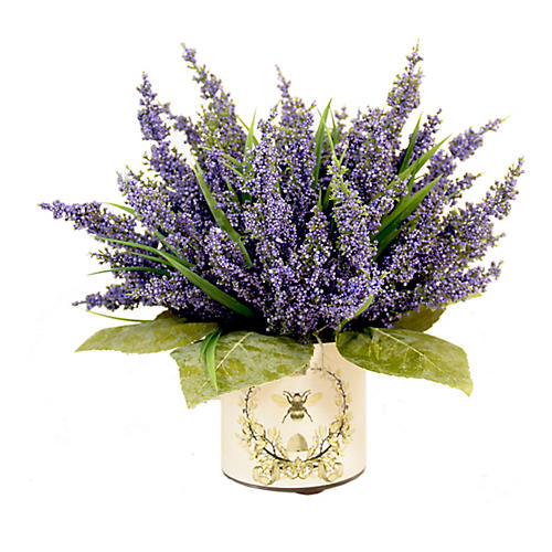 "13"" Lavender Arrangement w/ French Bee Vase, Faux"