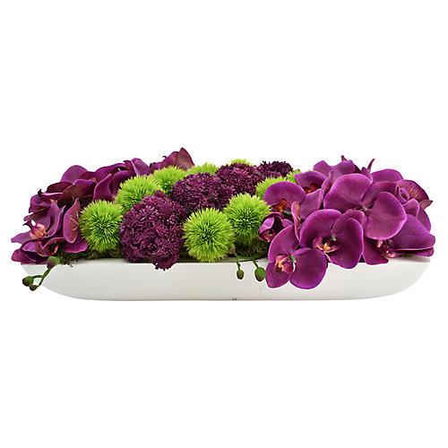 """19"""" Orchid & Sedum Arrangement w/ Container, Faux"""