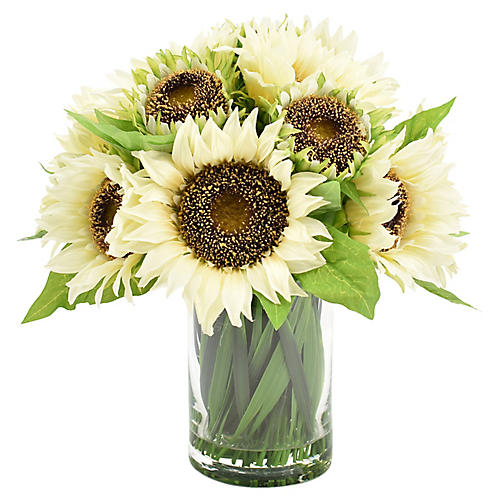 "12"" White Sunflower Arrangement w/ Vase, Faux"