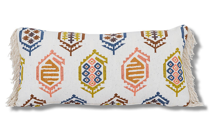 Dakota 14x28 Lumbar Pillow, White/Multi