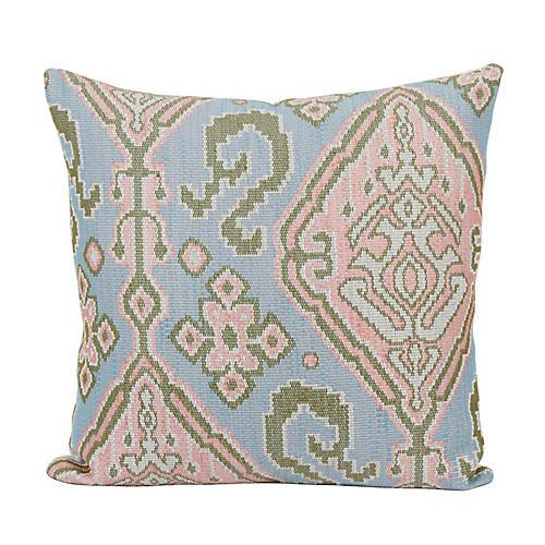 Rocco 24x24 Pillow, Blush/Blue