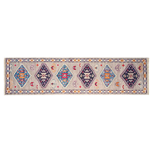 "2'7""x10' Dija Hand-Knotted Runner, Gray"