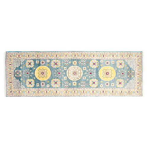 "2'7""x8'3"" Khotan Hand-Knotted Rug, Teal"