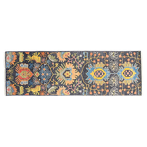 """2'7""""x8'3"""" Liam Hand-Knotted Rug, Navy"""