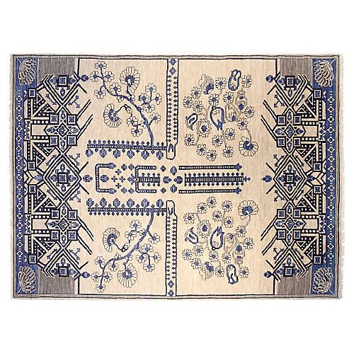 9'x12' Samba Hand-Knotted Rug, Ivory/Blue