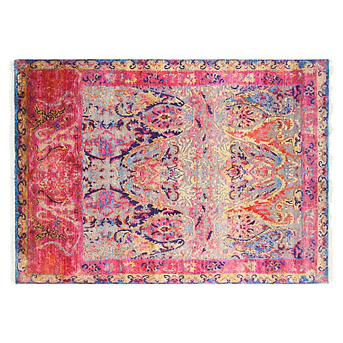 6'x8' Ariela Hand-Knotted Rug, Pink/Multi