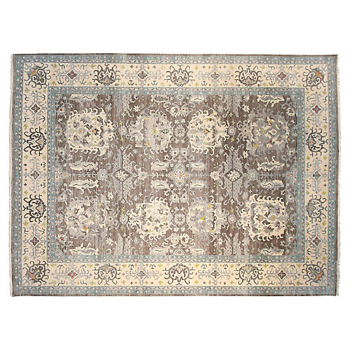 9'x12' Oushak Hand-Knotted Rug, Gray/Blue