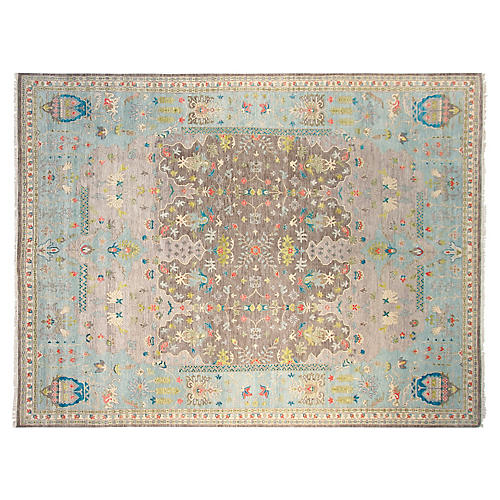 9'x12' Azta Hand-Knotted Rug, Gray