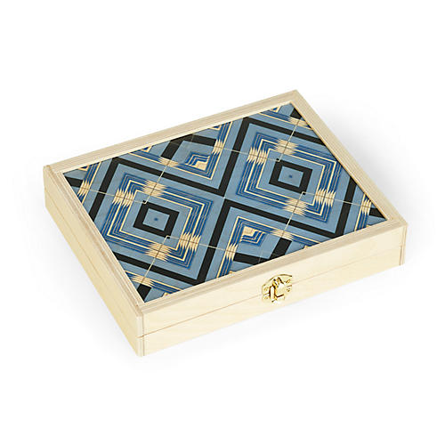 Sybil Backgammon Set, Sky Blue/Natural