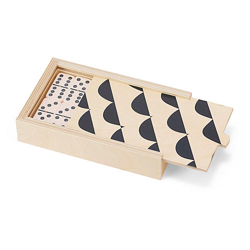 Curves Domino Set, Black/Natural