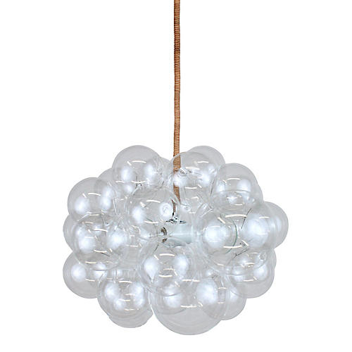 Bubble Cloud Chandelier, Rawhide Cord