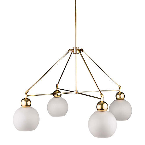 Quad-Globe Chandelier, Frosted/Raw Brass