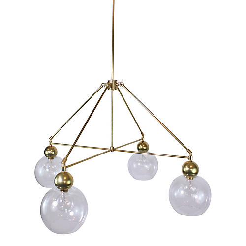 Quad-Globe Chandelier, Clear/Raw Brass