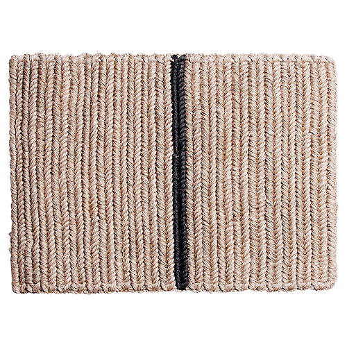"1'8""x2'3.5"" Enza Doormat, Tan/Black"