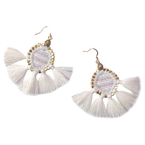Odette Tassel Earrings, White/Brass