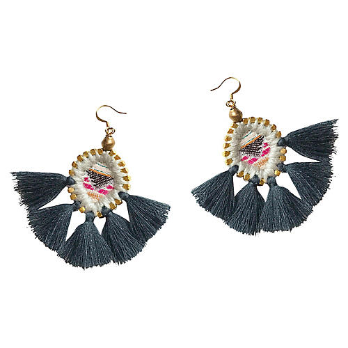 Olivia Tassel Earrings, Charcoal/Brass