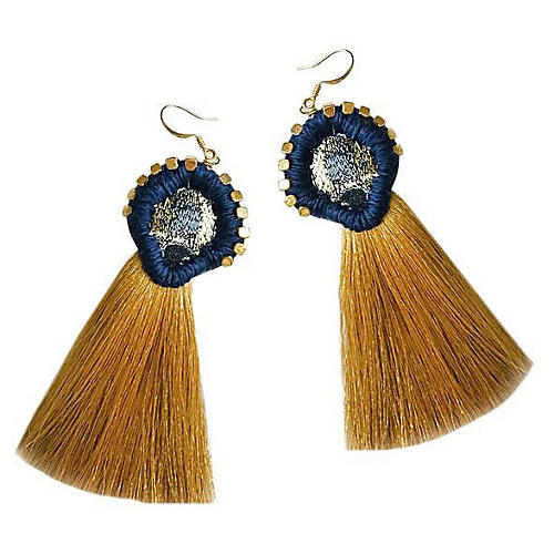 Tish Tassel Earrings, Gold/Navy