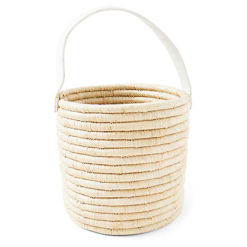 Jill Mini Bucket Bag, Natural/White