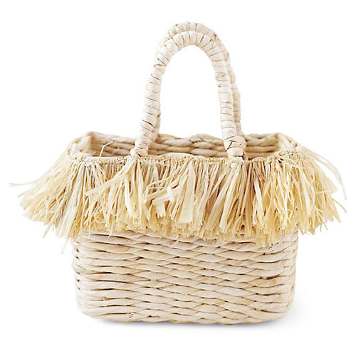 Maha Mini Fringe Tote, Natural