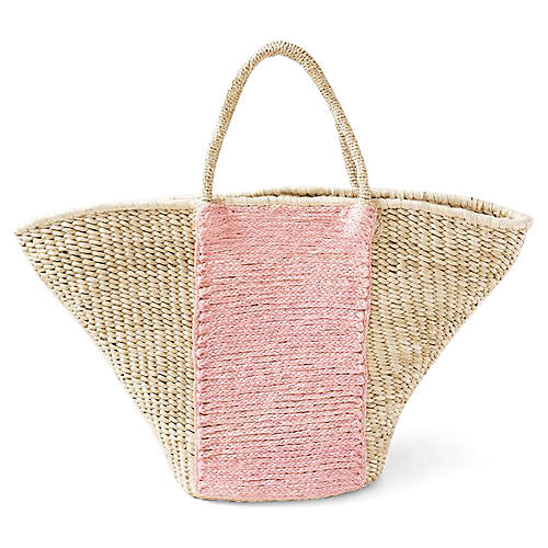 Oni Panel Tote, Natural/Pink