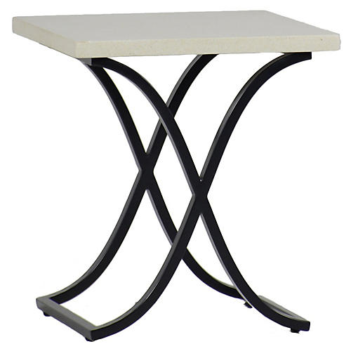 Marco Outdoor Side Table, Gray/White