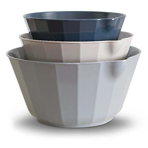 S/3 Desa Mixing Bowls, Slate/Multi