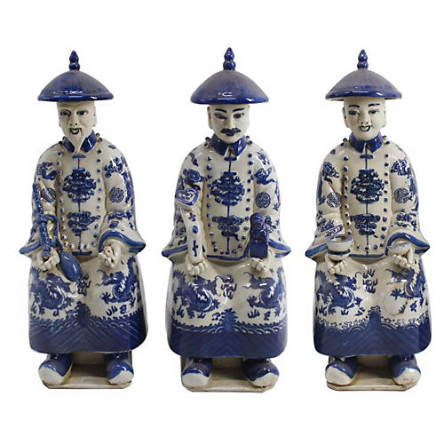 Asst. of 3 Seated Emperor Figures, Blue/Ivory