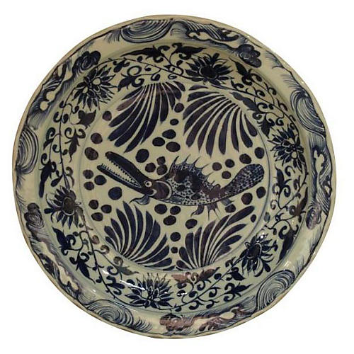"16"" Floral Fish Decorative Plate, Blue/Ivory"