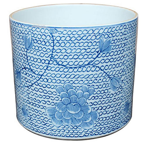 "8"" Floral Chain-Link Planter, Blue/White"