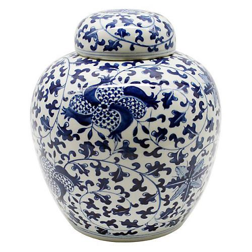 """10"""" Pomegranate Vine Jar, Blue/White"""