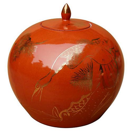 "9"" Pine & Crane Melon Jar, Orange/Gold"