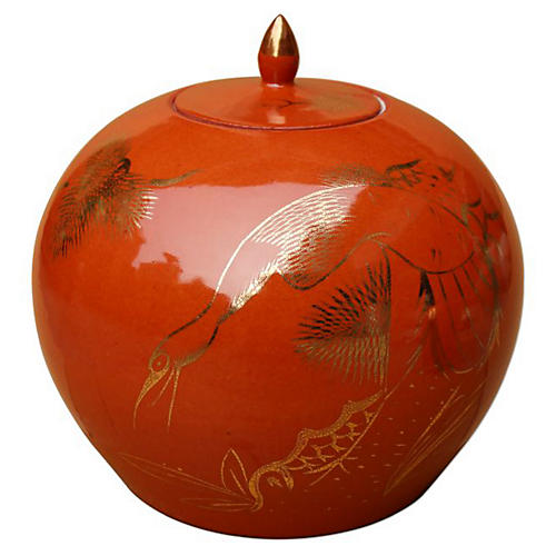 "9"" Pine & Crane Melon Jar, Orange/Gold"