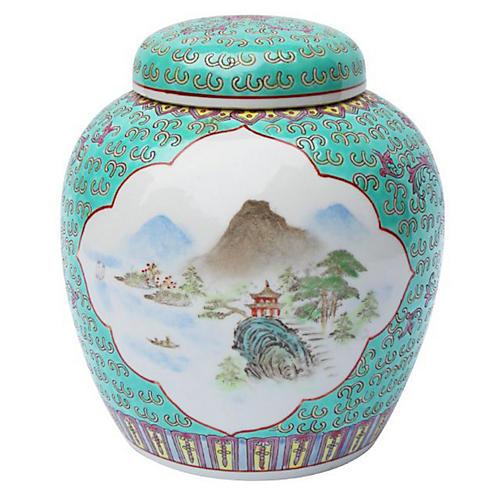 "10"" Mountain Landscape Jar, Turquoise/Multi"