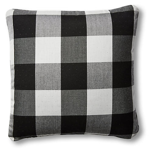 S/2 Gingham Outdoor Pillows, Black/White
