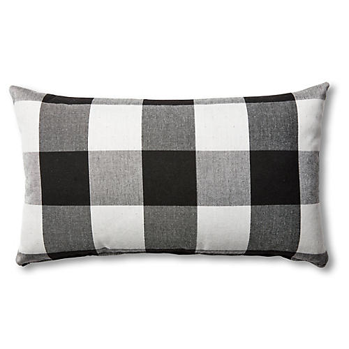 S/2 Gingham Outdoor Lumbar Pillows, Black/White