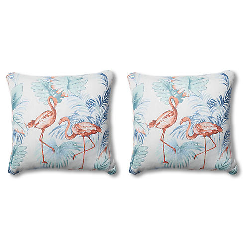 S/2 Gloria Outdoor Pillows, Flamingo