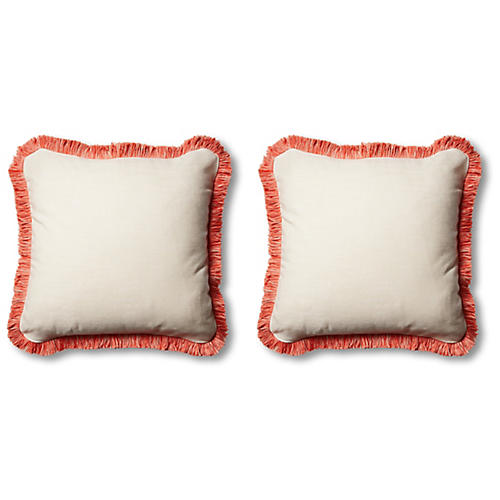 S/2 Classic Outdoor Pillows, Natural/Melon