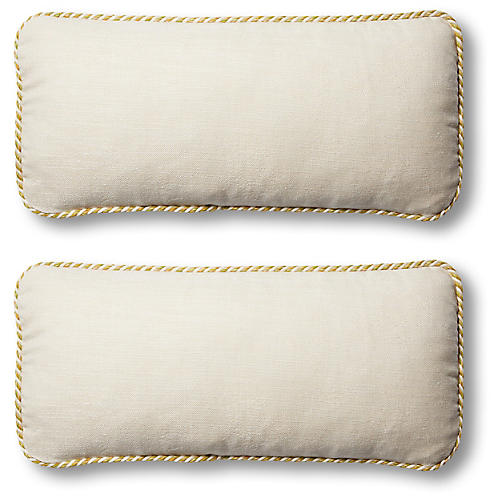 S/2 Classic Outdoor Lumbar Pillows, Natural