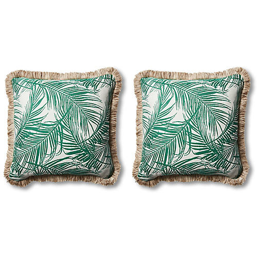 S/2 Tropical Outdoor Pillows, Emerald