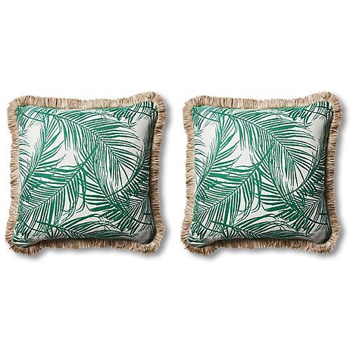 S/2 Tropical Outdoor Pillows, Emerald