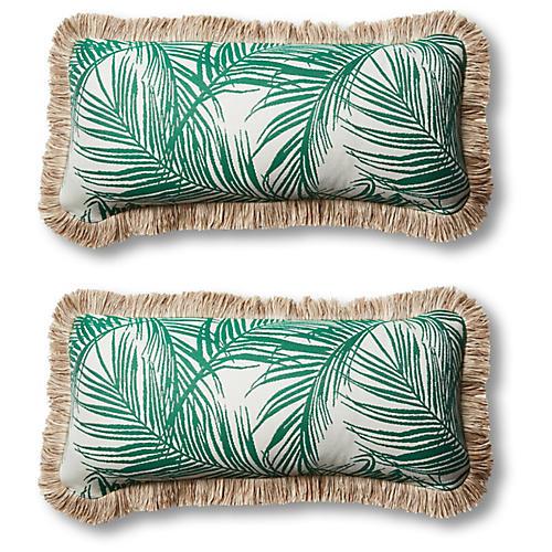 S/2 Tropical Outdoor Lumbar Pillows, Emerald