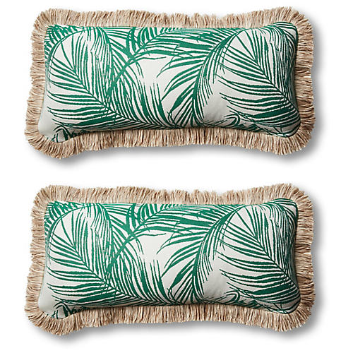 S/2 Tropical Outdoor Lumbar Pillows, Emerald
