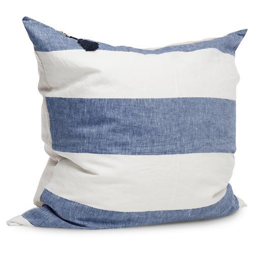 Harbour Island 26x26 Pillow, Blue Linen