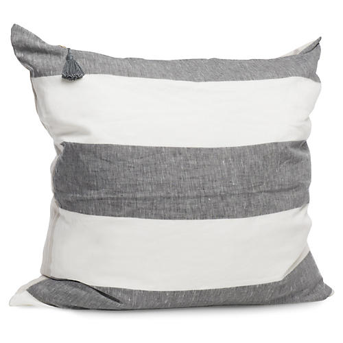 Harbour Island 26x26 Pillow, Charcoal Linen