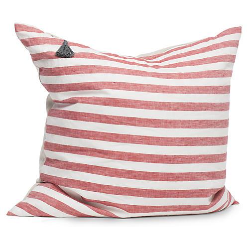 Sur La Mer 26x26 Pillow, Red/White