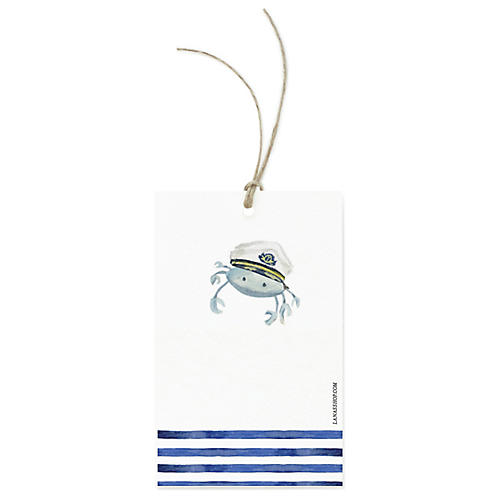 S/12 Nautical Crab Gift Tags